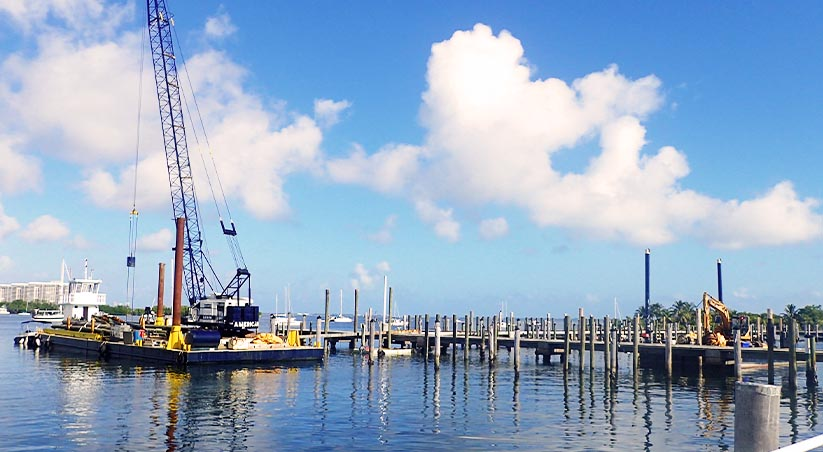Construction underway at Dinner Key Marina