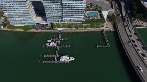 aerial of completed marina