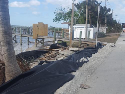 damaged seawall and dock